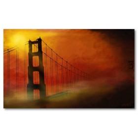 Αφίσα (γέφυρα, κόκκινος, σύννεφα, ηλιοβασίλεμα, θέα, αρχιτεκτονική)